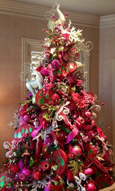 Christmas tree - red with accents of green, silver, and gold