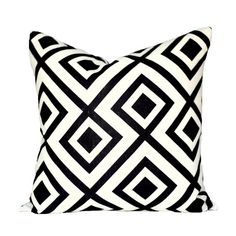 READY TO SHIP - 18x18 La Fiorentina Domino decorative pillow cover - 1 sided with black linen reverse
