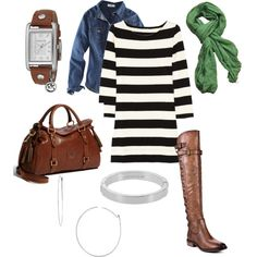 """Spring outfit. Striped dress, green scarf, whiskey leather and silver jewelry."" by jbrannon1 on Polyvore"