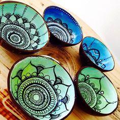Handpainted COCONUT SHELL trinket dish boho-inspired by JoeyDesign