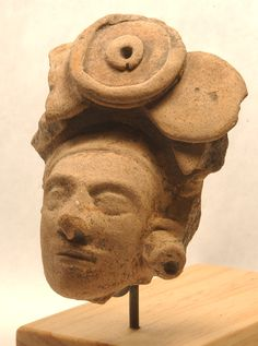Veracruz  600-900 AD - Head of dignitary wearing a jade headdress and ear flare
