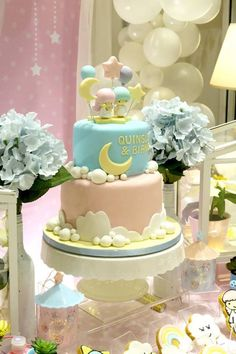 Cake from a Little Star Twins Birthday Party on Kara's Party Ideas | KarasPartyIdeas.com (6)