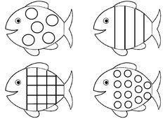 Une planche de poissons à formes géométriques à colorier : ronds, carré (quadrillage), rayures