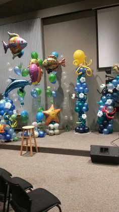 Balloon columns  Under the Sea Balloon Decor  Sheila Moody's Balloons and More