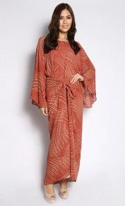 Pareo Long Dress with Small Polka Dots in Brown