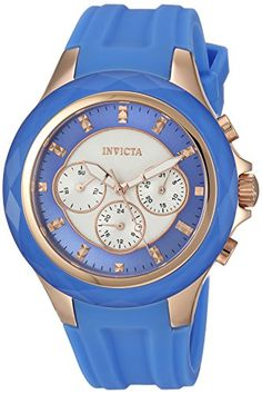 Invicta Womens Angel Quartz Stainless Steel and Silicone Casual Watch ColorBlue Model 22677 ** Check this awesome product by going to the link at the image.