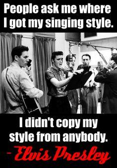 """People ask me where I got my singing style. I didn't copy my style from anybody."" - Elvis Presley #elvispresley #elvisquotes #famousquotes #theelvisdiaries #elvistheking #rockandrollking"