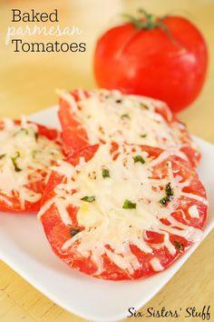 Baked Parmesan Tomatoes SixSistersStuff.com