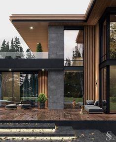 Modern house in the USA - Exterior Design Modern House Facades, Modern Architecture House, Architecture Design, Residential Architecture, Modern Houses, Amazing Architecture, Stairs Architecture, Modern Mansion, Facade Design