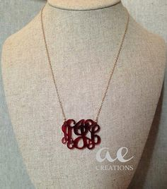 Tortoise Monogram Necklace on Etsy, $19.99