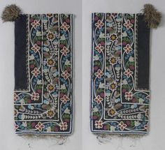 A James Bay Cree beaded cloth hood composed of wool and silk cloth, glass beads and cotton thread, decorated with a floral motif.