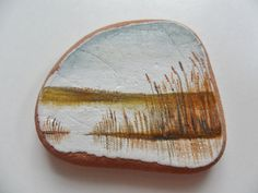 Reeds by the river  Miniature art on English sea pottery by Alienstoatdesigns, $25.00