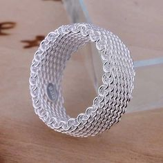 Beautiful Timeless Mesh Ring ✨ ✨Beautiful Timeless Sterling Silver Plated 925 Ring                                                                                  Comment below with your size ✨Available sizes 6 or 7 Jewelry Rings