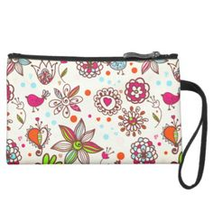 Hearts & Girly Flowers Suede Wristlet Wallet - girly gift gifts ideas cyo diy special unique