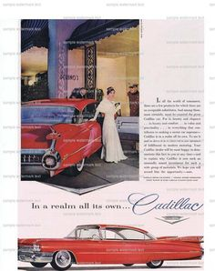 Cadillac.Car.Automoblie.Life magazine.original.page.ad.1959.home deco,sweetie.vintage.dad.art.eco.gift.red.bro.valentine.luxury.tailfin.guy by JackieBassettArt on Etsy