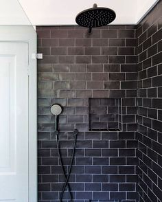 Hand painted black subways, grey grout and black tapware. White Subway Tile Shower, Black Subway Tiles, Subway Tile Showers, Black Shower, Black Tiles, Shower Tiles, Bathroom Door Handles, Bathroom Doors, Bathroom Flooring