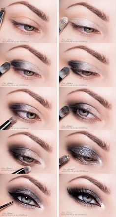 Tutoriel de Maquillage : Cool and Sparkly Gray Smoky Eyes Makeup Tutorial...
