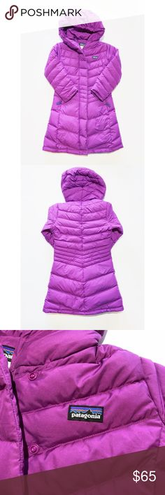 PATAGONIA kids purple long parka sz XS 5/6 Patagonia kids sz XS 5/6 long puffer parka in purple! So beautiful and so cute! In excellent condition, no holes or tears. There is a stamp in the inside lower part of the jacket (as pictured) was there when I purchased these. Does not affect wear at all. My daughter loved wearing this in the snow! Patagonia Jackets & Coats Puffers