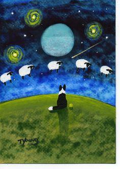 Etsy Transaction - Border Collie Dog Outsider Folk Art PRINT Todd Young Counting Sheep
