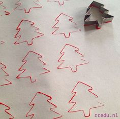 Homemade cards - use a tree. Cookie cutter then let the girls decorate it with glitter, tissue paper, jewels, etc Diy Christmas Wrapping Paper, Diy Wrapping Paper, Christmas Art, All Things Christmas, Christmas Holidays, Christmas Crafts, Christmas Decorations, 242, Theme Noel