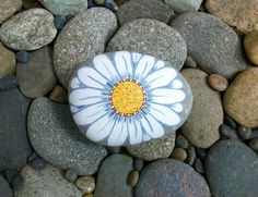 Big Painted Daisy Rock by InnerSasa on Etsy