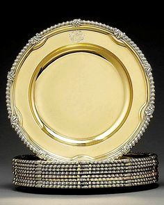 Gilded Age NYC Set, c.1895, of  Silver-Gilt Plates Bearing the Vanderbilt Coat…