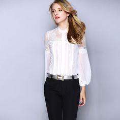 6e3c4671d6f3a1 Feminino Colete 2017 Autumn Winter New Brand Blouses Women Lace Silk  Lantern Sleeve Elegants Office Lady Blouses Shirts XL