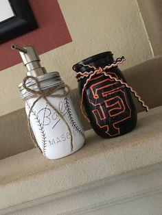Hand Painted SF Giants & Baseball Mason Jar