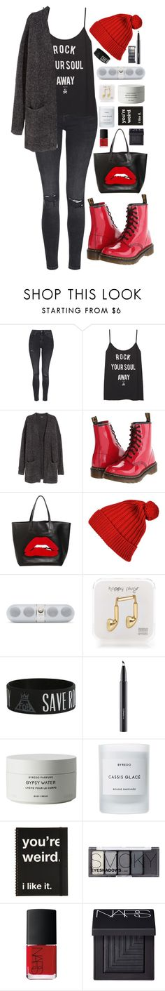 """""""Dust In The Wind"""" by ellac9914 ❤ liked on Polyvore featuring Topshop, H&M, Dr. Martens, RED Valentino, Happy Plugs, MAC Cosmetics, Byredo, NARS Cosmetics, Winter and casual"""