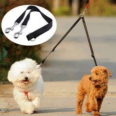 Black Coupler Leash Lead Duplex 2 Way Multiple Dual Double Leash Dog Pet