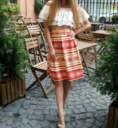 Red and beige striped skirt