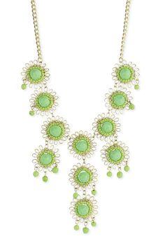ZAD Beaded Flower Bib Necklace In Green