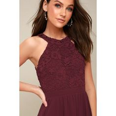 Lulus  Lover's Game Burgundy Lace Skater Dress ($59) ❤ liked on Polyvore featuring dresses, purple, red floral dress, burgundy lace dresses, red dresses, skater dresses and red skater dresses