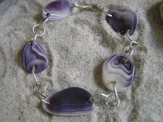 shell bracelet purple wampum jewelry great by Innershelldesigns