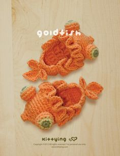 Goldfish Baby Booties Crochet PATTERN by kittying.com from mulu.us   This pattern includes sizes for 0 - 12 months.