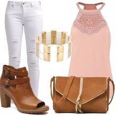 Oggi fa caldo, ho voglia di uscire, di passeggiare. Indosserè un jeans skinny bianco, scucito sulle gambe, un top rosa con ricami, scarpe tronchetto color cuoio, borsa scamosciata a tracolla e per finire un bellissimo bracciale rigido color oro e bianco!