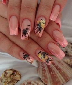 Beach nails, Bright French, Fashion summer nails 2015, French with sparkles, Long nails, Palm trees nails, Peach nails, Sea nails