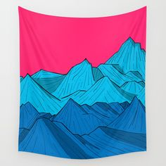 Check out society6curated.com for more! @society6 #illustration #wall #apartment #decor #homedecor #buy #shop #sale #design #shopping #apartmentgoals #sophomoreyear #sophomore #year #college #student #home #house #gift #idea #art #interiordesign #line #drawing #pink #blue #red #mountains #nature