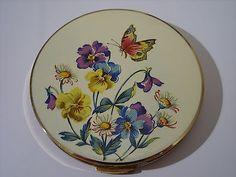 Beautiful Vintage Stratton Enamel Butterfly Wildflowers Powder Compact 1950s | eBay