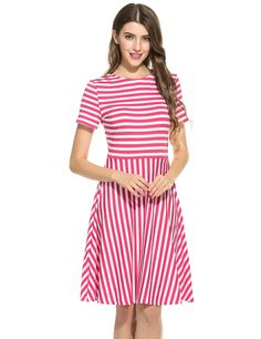 Rose red Women O-Neck Short Sleeve Striped Summer Casual Flared A-Line Dress