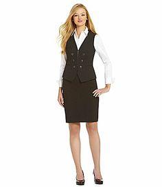 Antonio Melani Kadence Blouse Tanvi Pinstripe Pencil Skirt and Rikki Pinstripe Vest #Dillards