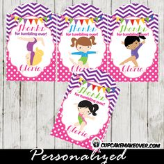 gymnastics balance beam girls personalized gift tags