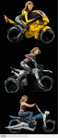 Body painted biker babes