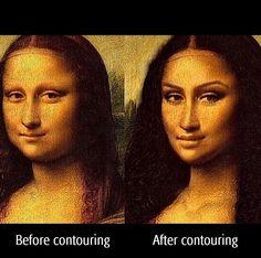 """Mona Lisa before and after make-up Contour Makeup, Contouring And Highlighting, Face Makeup, Mona Lisa, Before And After Contouring, Funny Memes, Hilarious, Funny Art, Jokes"