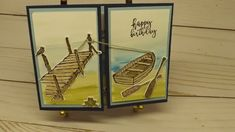 By the Dock Birthday Card by CottageLaneStamper on Etsy Fun Fold Cards, Folded Cards, Star Cards, Coffee Cards, Window Cards, Scrapbook Cards, Scrapbooking, Stamping Up Cards, Mothers Day Cards