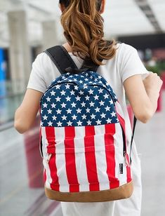 'Merica College Style Canvas USA Flag Punk BackPack & School Bag