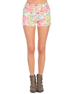 Neon Floral Scalloped Shorts