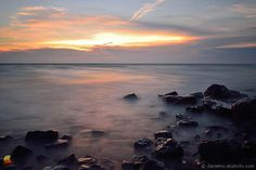 Glistening Lake Erie Rocks: Another one from the lakeshore at sunset as the sun shot its last light across the water to the rocks ... #etbtsy #lakeerie #greatlakes #sunset #landscape #photography