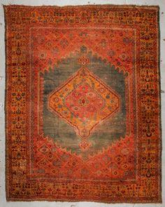 """Antique Oushak Rug: 9'1"""" x 11'6"""", 277 x 351 cm : Lot 407"""