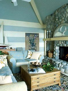 Loving the blue and white striped wall!